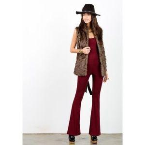 NWOT. Souci Dark Brown Long Faux Fur Vest